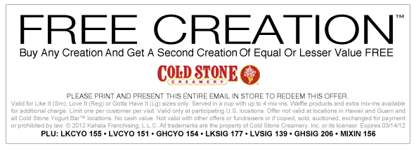 picture about Cold Stone Printable Coupon named Chilly Stone Ice Product: B1G1 Free of charge Printable Coupon! - \