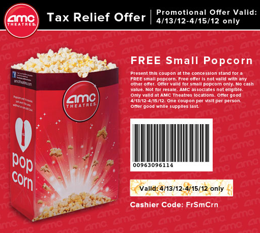 photograph regarding Amc Printable Coupons known as Cost-free Popcorn at AMC Theatres April 13-15 with Printable